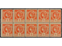 **/* HAITI. Sc.18 (10). 1886. 1 Cent. Bermellón. Bloque De Diez. Muy Bonito. - Sin Clasificación