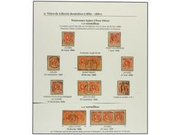 ° HAITI. Sc.18 (15). 1886. 1 Cent. Bermellon, Página De Album Con Seis Sellos, Tres Parejas Y Una Tira De Tres, Algunos  - Sin Clasificación