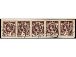 HAITI. Sc.19 (5). 1886. 2 Cts. Violeta. Tira De Cinco Sobre Fragmento. MAGNÍFICA, Múltiple Más Grande Conocido Sobre Est - Sin Clasificación