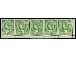 * HAITI. Sc.20 (5). 1886. 5 Cts. Verde. Tira De Cinco. MAGNÍFICA. - Sin Clasificación