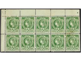 **/* HAITI. Sc.20 (10). 1886. 5 Cent. Verde. Bloque De Diez, Leves Manchas En Dos Sellos Y Margen Derecho, Dientes Recor - Sin Clasificación