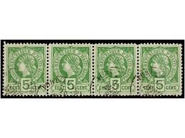 ° HAITI. Sc.20 (4). 1886. 5 Cts. Verde. Tira De Cuatro, Mat. PORT AU PRINCE. MAGNÍFICA, Múltiple Más Grande Conocido De  - Sin Clasificación