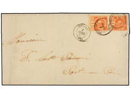 HAITI. Sc.18 (2). 1887. GONAIVES A PORT AU PRINCE. 1 Cto. Bermellón (2), Mat. GONAIVES/HAITI. Raro Franqueo En Carta Loc - Sin Clasificación