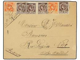HAITI. Sc.18 (2), 19 (4). 1891. JACMEL A FRANCIA. 1 Cto. Bermellón (2) Y 2 Cts. Violeta (4), Mat. JACMEL/HAITI. Excepcio - Sin Clasificación