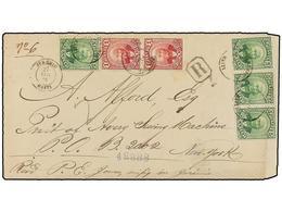 HAITI. Sc.21 (2), 24 (2). 1888. JEREMIE A NEW YORK. Carta Certificada Circulada Con Dos Sellos De 1 Cto. Rojo Y Cuatro S - Sin Clasificación
