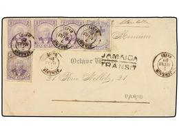 HAITI. Sc.22 (5). 1889. JEREMIE A PARÍS. 2 Cts. Violeta (5) (tira De Tres Y Dos Sellos), Mat. JEREMIE/HAITI Marca JAMAIC - Sin Clasificación