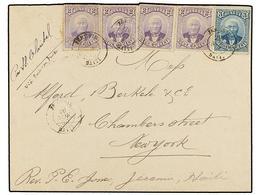 HAITI. Sc.22 (4), 23. 1890. JEREMIE A NEW YORK. 2 Cts. Violeta (4), 3 Cts. Azul, Mat. JEREMIE/HAITI. Carta Sobrefranquea - Sin Clasificación