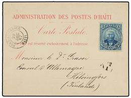 HAITI. Sc.23. 1887 (20 Diciembre). PORT AU PRINCE A HELSINGFORS (Finlandia). Tarjeta Postal (FC 10 De La Clasificación D - Sin Clasificación