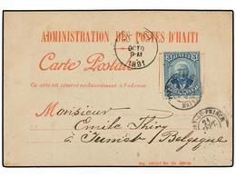HAITI. Sc.23. 1891. PORT AU PRINCE A BÉLGIA. Tarjeta Postal Oficial Con Franqueo De 3 Cts. Azul. - Sin Clasificación