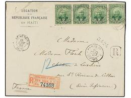 HAITI. Sc.24 (4). 1890. PORT AU PRINCE A FRANCIA. 5 Cts. Verde, Tira De Cuatro. Carta Certificada. Muy Bonita. - Sin Clasificación
