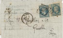 LETTRE AFFRANCHIE 2 EX N° 29  OBLITERATION GC 2669 NIMES -1869 - VARIETE DENTELURE - Postmark Collection (Covers)