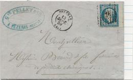 LETTRE AFFRANCHIE N° 14 BORD DE FEUILLE - CAD PEZENAS SEPT 1859 - Postmark Collection (Covers)