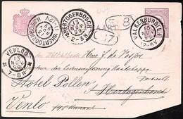 1899 Grootrond Valkenburg > Visjer 's-Hertogenbosch > RESENT Hotel Pollen Venlo (EY-68) - Postal Stationery