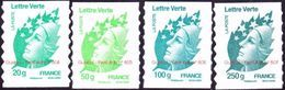 """Autoadhésif(s) De France N°  604 A + 605 + 606 Et 607 ** Marianne De Beaujard. Les 4 Verts En Grammes """"PRO"""" Fond Blanc - Neufs"""
