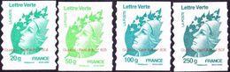 """France Autoadhésif N°  604 A + 605 + 606 Et 607 ** Marianne De Beaujard. Les Quatre Verts En Grammes """"PRO"""" Fond Blanc - France"""