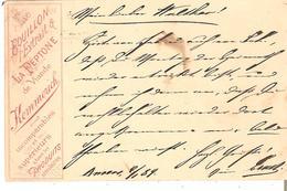 """CP.repiquage Rouge """"BOUILLON Extrait La PEPTONE De Viande KEMMERICH """"ANVERS 1889 V/LONDRES - Ganzsachen"""