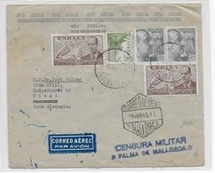 ESPAGNE - 1940 - ENVELOPPE De MALLORCA (BALEARES) Avec 2 CENSURES  => WIEN (AUTRICHE) - 1931-Today: 2nd Rep - ... Juan Carlos I