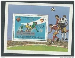 """Niger BF N° 40 XX """" Espana' 82"""", Résultats De La Coupe Du Monde De Football,  Le Bloc Sans Charnière, TB - Niger (1960-...)"""