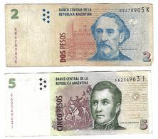 Billets 2 Pesos Et 5 Pesos Argentine - Argentine