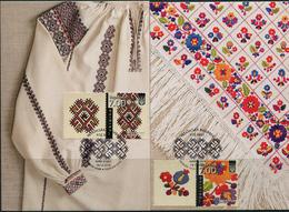Ukraine 2018. #1706/09 - FDC. Ukrainian Embroidery. Nation Code. Maxicards (B33) - Costumes