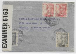 """ESPAGNE - 1942 - PERFORE """"E"""" (PERFIN) Sur ENVELOPPE De MADRID Avec 2 CENSURES => CHICAGO (USA) - 1931-Today: 2nd Rep - ... Juan Carlos I"""