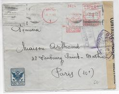ESPAGNE - 1940 - ENVELOPPE Avec EMA De MADRID + 2 CENSURES => PARIS - Marcophilie - EMA (Empreintes Machines)