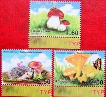 Tajikistan  2014  Mushrooms  Butterflies, Insects, Hedgehog   3v  MNH - Papillons