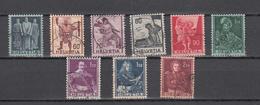 1941   N° 243 à 251 OBLITERES  COTE 5.00  FRS.  VENDU à 15%       CATALOGUE ZUMSTEIN - Suisse