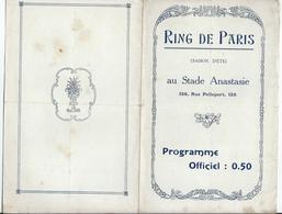 PARIS - BOXE En Plein Air Au RING De Paris Au Stade Anastasie Le 24 Juin 1922 - 4 Pages - Programmi