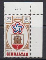 Gibraltar 1976 US Bicentennial 1v (corner) ** Mnh (41506G) - Gibraltar