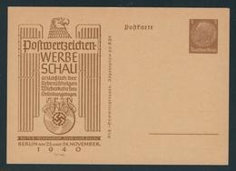 Privatpostkarte MiNr. PP 122 C 110, 23.-24.11.1940 Berlin Postwertzeichen-Werbeschau, Ungebraucht, 3 Pf Hindenburg Braun - Alemania