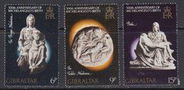 Gibraltar 1975 Michelangelo 3v ** Mnh (41506G) - Gibraltar