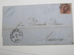 1864 ,Brief  Mit Nummernstempel 1 - 1851-63 (Frederik VII)