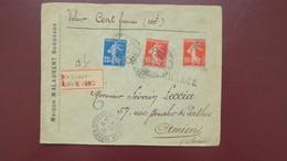 Type Semeuse Affranchissement 45 Ct  Sur Lettre Chargé Valeur Déclarée 100 F Bordeaux Pour Amiens 1912 - Postmark Collection (Covers)