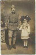 CPA Carte Photo Soldat Militaire Fille Fillette Costume Alsacienne 1919 - War 1914-18