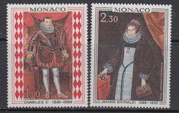 Monaco 1968 Paintings Charles II & Jeanne Grimaldi 2v ** Mnh (41507B) - Monaco