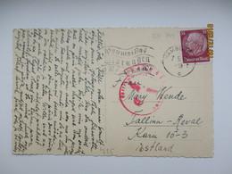 1940 HAMBURG TO ESTONIA , MILITARY CENSORED POSTCARD , AUTOMOBILE  , OLD POSTCARD , O - Germany