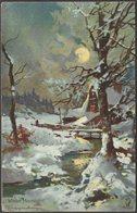 Theodor Guggenberger - Winter Moonlight, C.1905-10 - Knight Series Postcard - Guggenberger, T.