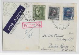 ESPAGNE - 1948 - CARTE De SEVILLA => BATON ROUGE (USA) - Airmail