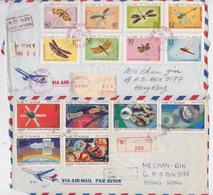 Viêt-Nam - Lot De 2 Devants D'Enveloppes Recommandées Pour Hong Kong - Timbre Insecte Espace - Space Insect Stamp - Vietnam