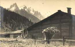 Carte Photo Cl Tairaz Paysage De Montagne Chalet Femme Avec Une Hotte De Fourrage RV - Photographs
