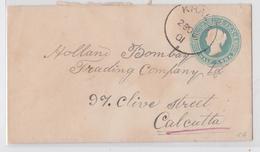 British India Raj Queen Victoria Half Anna Postal Stationery Cover Khalra (?) To Calcutta Lettre Entier Postal Inde 1901 - 1882-1901 Empire