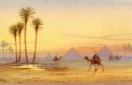 EGYPT - Artist Signed Artcard - A  Glorious Sunset At The Pyramids Og Giza - Pyramids
