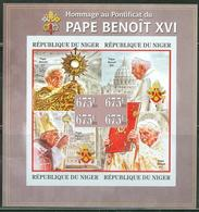 Niger 2013, Pope Benedict, 4val In BF IMPERFORATED - Papes