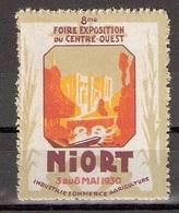 Vignetten Reklamemarken Frankreich France : 8. Foire Exposition Du Centre-Quest Niort 1930 ** - Erinnophilie