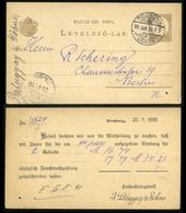 POZSONY 1898. Régi Díjjegyes Lap, Hátoldali Céges Nyomással, Palugyai - Hongrie