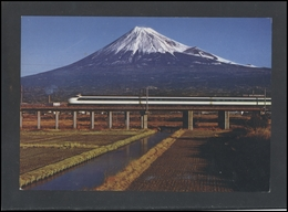 JAPAN Postal History Post Card JP 023 Air Mail Bullet Train Tokaido Line Railway - 1989-... Empereur Akihito (Ere Heisei)