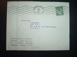 LETTRE TP IRIS  OBL.MEC.8 NOV 40 MARSEEILLE GARE (13) LE RIDEAU GRIS Directeur Artistique LOUIS DUCREUX - Marcophilie (Lettres)