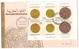 Maroc. FDC. 2011. 6 Timbres. Monnaies Marocaines. Tête Bêche.  Almohades, Saadiens Et Alaouites. - Morocco (1956-...)
