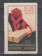 Vignetten Reklamemarken Frankreich France : Internationale Lyoner Messe 1934 * Lyon Löwe Ausstellung Exibition - Erinnophilie